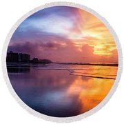 Crescent Beach Sunrise Round Beach Towel
