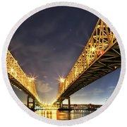 Crescent City Bridge In New Orleans Round Beach Towel