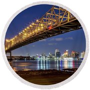 Crescent City Bridge, New Orleans Round Beach Towel