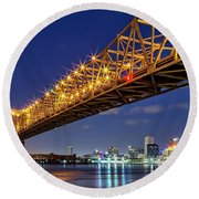 Crescent City Bridge, New Orleans, Version 2 Round Beach Towel
