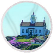 Crescent City Lighthouse Round Beach Towel
