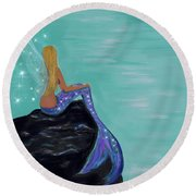 Round Beach Towel featuring the painting Crescent Mermaid Moon Fairy by Leslie Allen