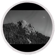 Round Beach Towel featuring the photograph Crescent Moon And Buffalo Rock by James BO Insogna