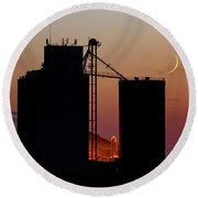 Round Beach Towel featuring the photograph Crescent Moon At Laird 03 by Rob Graham