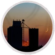 Crescent Moon At Laird 05 Round Beach Towel
