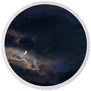 Round Beach Towel featuring the photograph Crescent Moon In Hocking Hilla by Haren Images- Kriss Haren