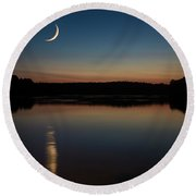 Crescent Moon Set At Lake Chesdin Round Beach Towel
