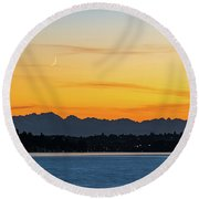 Crescent Moon Sunset Round Beach Towel