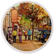 Round Beach Towel featuring the painting Crescent Street Montreal by Carole Spandau