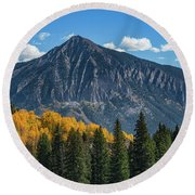 Crested Butte Mountain Round Beach Towel