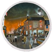 Round Beach Towel featuring the painting Cribnight by Ken Wood