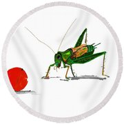 Cricket  Joy With Cherry Round Beach Towel by Debbi Saccomanno Chan