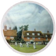Cricket On The Green Round Beach Towel by Rosemary Colyer