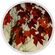 Round Beach Towel featuring the photograph Crimson Red Autumn Leaves by Chris Berry