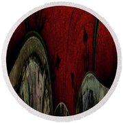 Crimson Canals Abstract Art Round Beach Towel