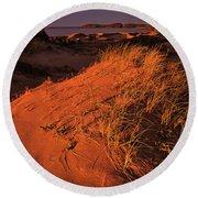 Crimson Dunes Round Beach Towel