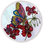 Crimson Fancy Round Beach Towel