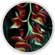 Round Beach Towel featuring the photograph Crimson Flow by Kathie Chicoine