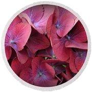 Crimson Hydrangeas Round Beach Towel by Dora Sofia Caputo Photographic Art and Design