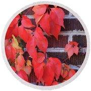 Crimson Leaves Round Beach Towel
