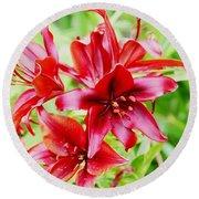 Crimson Lilies Round Beach Towel