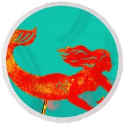 Crimson Mermaid Round Beach Towel