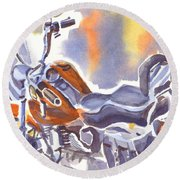 Crimson Motorcycle In Watercolor Round Beach Towel by Kip DeVore