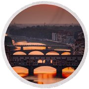 Crimson River Round Beach Towel by Giuseppe Torre