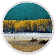 Crisp Aspen Morning Round Beach Towel