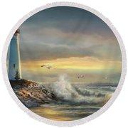 Crisp Point Lighthouse At Sunset  Round Beach Towel