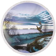 Crisp Winter Light Round Beach Towel
