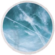 Round Beach Towel featuring the photograph Criss-cross Sky by Colleen Kammerer