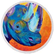 Critically Endangered Black Rhino Round Beach Towel
