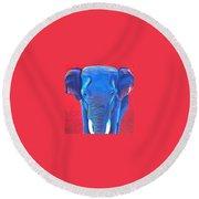 Critically Endangered Sumatran Elephant  Round Beach Towel