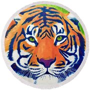 Critically Endangered Sumatran Tiger Round Beach Towel