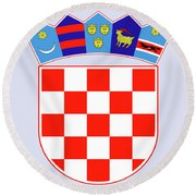 Round Beach Towel featuring the drawing Croatia Coat Of Arms by Movie Poster Prints