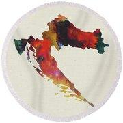 Croatia Watercolor Map Round Beach Towel