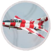 Croatian Air Force Mig-21ub Round Beach Towel