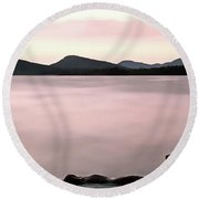 Round Beach Towel featuring the painting Croatian Coast by Odon Czintos