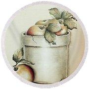 Crock Of Apples - Vintage Round Beach Towel