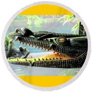 Crocodile Mouth Round Beach Towel by Randall Weidner