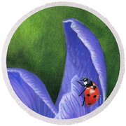 Crocus And Ladybug Detail Round Beach Towel
