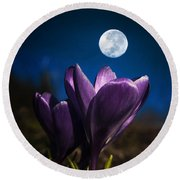 Crocus Moon Round Beach Towel