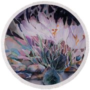 Round Beach Towel featuring the painting Crocuses by Mindy Newman
