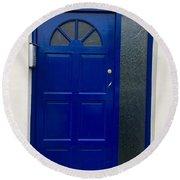 Crooked Blue Door In  Ireland  Round Beach Towel