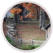 Crooked Fence Round Beach Towel by Eric Liller