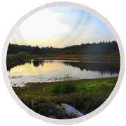 Round Beach Towel featuring the photograph Crooked Lake Road by Jason Lees