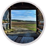 Round Beach Towel featuring the photograph Crooks Covered Bridge 2 by Joanne Coyle