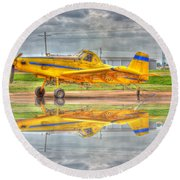 Crop Duster 002 Round Beach Towel