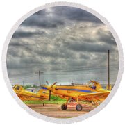 Crop Duster 003 Round Beach Towel
